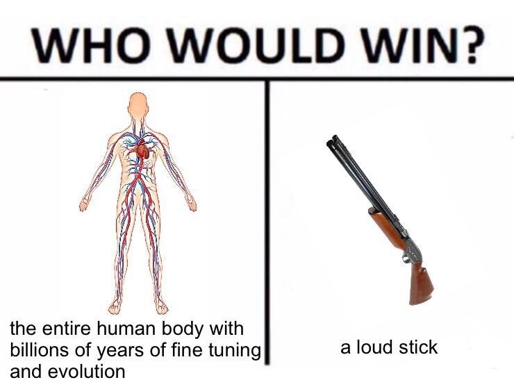 meme - Joint - WHO WOULD WIN? the entire human body with billions of years of fine tuning and evolution a loud stick