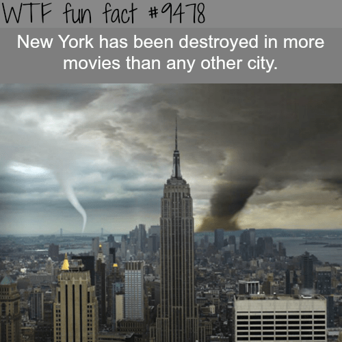 Metropolitan area - WTF fun fact #9418 New York has been destroyed in more movies than any other city.