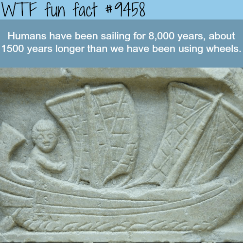 Stone carving - WTF fun fact #9458 Humans have been sailing for 8,000 years, about 1500 years longer than we have been using wheels.