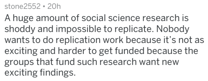 Text - stone2552 20h A huge amount of social science research is shoddy and impossible to replicate. Nobody wants to do replication work because it's not as exciting and harder to get funded because the groups that fund such research want new exciting findings