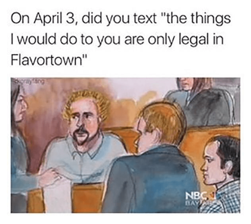"""Cartoon - On April 3, did you text """"the things I would do to you are only legal in Flavortown"""" orayfang NBC BAY"""
