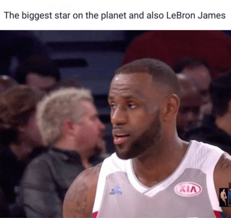 """Caption that reads, """"The biggest star on the planet and also LeBron James"""" above a pic of LeBron James and Guy Fieri in the background"""