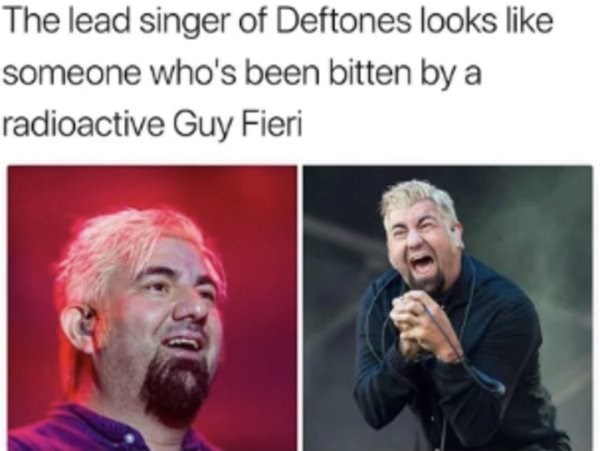 Facial expression - The lead singer of Deftones looks like someone who's been bitten by a radioactive Guy Fieri