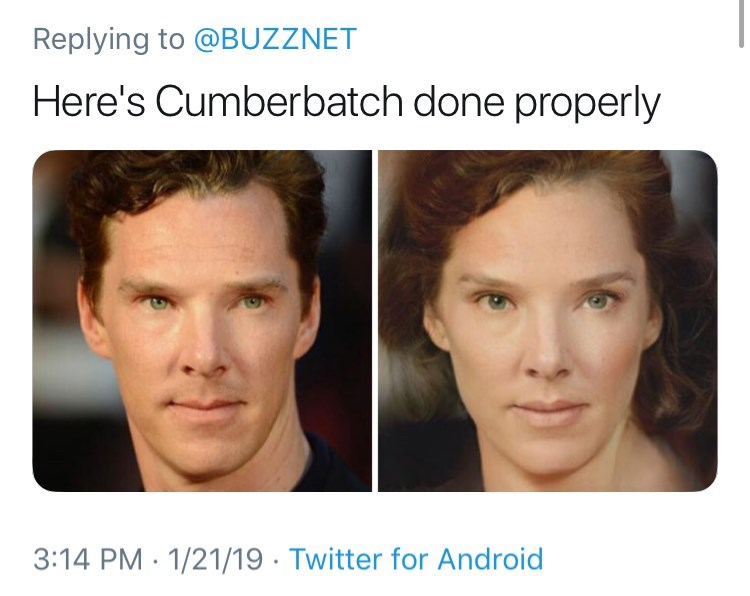 Face - Replying to @BUZZNET Here's Cumberbatch done properly 3:14 PM 1/21/19 Twitter for Android