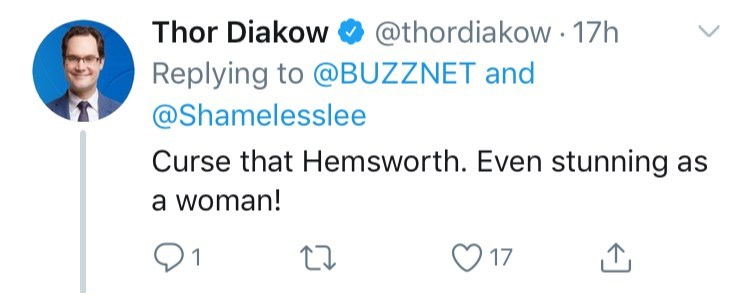 Text - Thor Diakow @thordiakow 17h Replying to @BUZZNET and @Shamelesslee Curse that Hemsworth. Even stunning a woman! 17