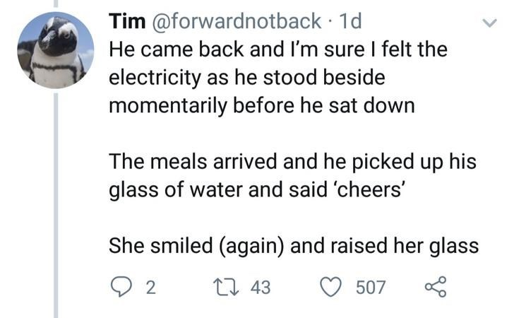 Text - Tim @forwardnot back 1d He came back and I'm sure I felt the electricity as he stood beside momentarily before he sat down The meals arrived and he picked up his glass of water and said 'cheers' She smiled (again) and raised her glass 1 43 507