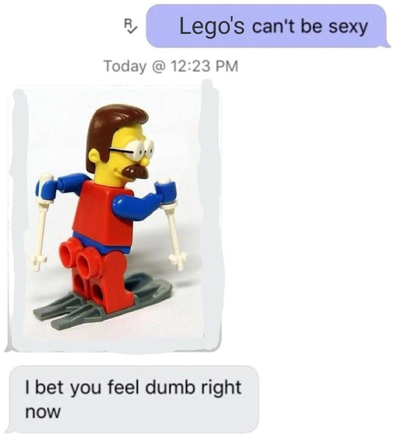 meme - Toy - Lego's can't be sexy Today @ 12:23 PM I bet you feel dumb right now
