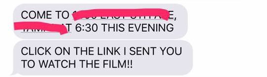 Text - E, T 6:30 THIS EVENING COME TO CLICK ON THE LINK I SENT YOU TO WATCH THE FILM!!!