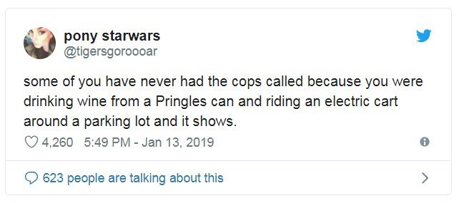 Text - pony starwars @tigersgoroooar some of you have never had the cops called because you were drinking wine from a Pringles can and riding an electric cart around a parking lot and it shows. 4,260 5:49 PM - Jan 13, 2019 623 people are talking about this