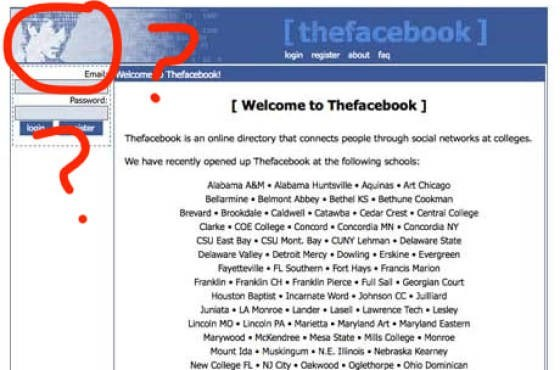 Text - [ thefacebook ] ogin register about fe Ema elcome Thefacebookd Password Welcome to Thefacebook ] loo Thefocebook is an online directory that connects people through social networks at colleges We have recently opened up Thefacebook at the folowing schools: Alabama A&M Alabama Huntsville Aquinas Art Chicago Befamine Belmont Abbey Bethel KS Bethune Cookman Brevard Brookdale Caldwell Catawba Cedar Crest Central College Clarke COE College Concord Concordia MN Concordia NY CSU East Bay CSU Mon