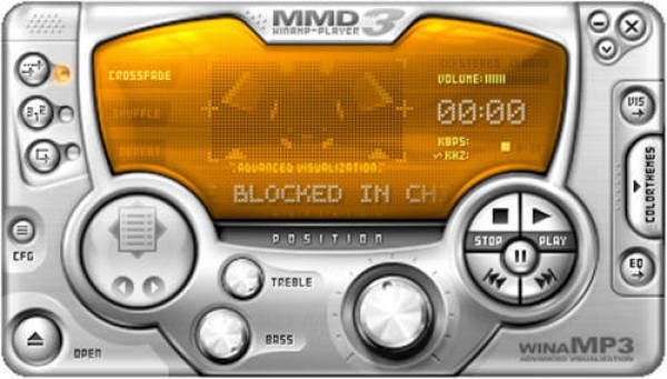 Technology - MMD MINDHD-PLRYEE VOLUME CROSSFADE +00:00 KBPS AOUODCES SUOLIZATIOO BLOCKED IN CH .סכ Sד. PO5ITION STOP PLAY CFG EO TREBLE BRSS WINA MP3 OPEN Ano