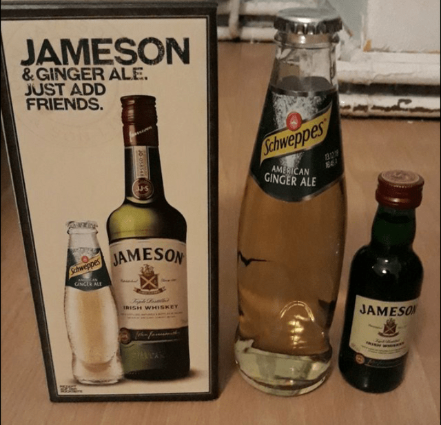 Alcoholic beverage - JAMESON &GINGER ALE. JUST ADD FRIENDS. сhweррes AMERICAN GINGER ALE JAMESON Schweppes GINCER ALE IRISH WHISKEY JAMESO feh fa 6-0588