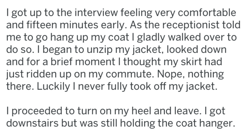 screenshot of text from reddit about woman who goes to job interview without pants