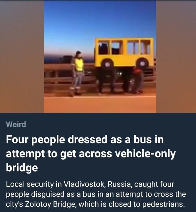 """Headline that reads, """"Four people dressed as a bus in attempt to get across vehicle-only bridge"""" below a pic of the bus"""