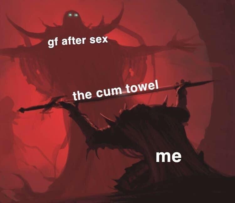 Cartoon - gf after sex the cum towel me