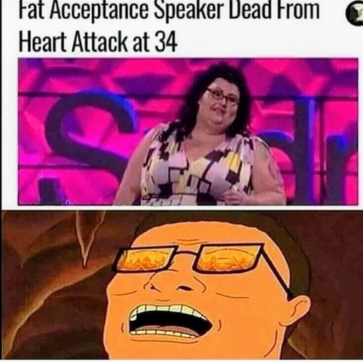 Cartoon - Fat Acceptance Speaker Dead From Heart Attack at 34