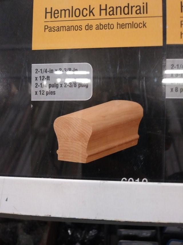 Wood - Hemlock Handrail Pasamanos de abeto hemlock 2-1/4-in 3/9_in x 12-ft 2-1/4 pulg x 2-3/8 puiy x12 pies 2-1/ -0 Y x8 p