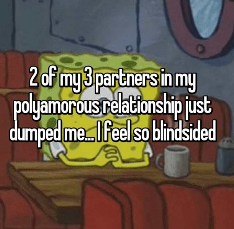 Text - 2 of my 3 partners in my polyamorous relationship just dumped me.. Ifeelso blindsided