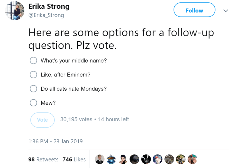 Text - Erika Strong Follow @Erika_Strong Here are some options for a follow-up question. Plz vote What's your middle name? Like, after Eminem? Do all cats hate Mondays? Mew? 30,195 votes 14 hours left Vote 1:36 PM - 23 Jan 2019 98 Retweets 746 Likes