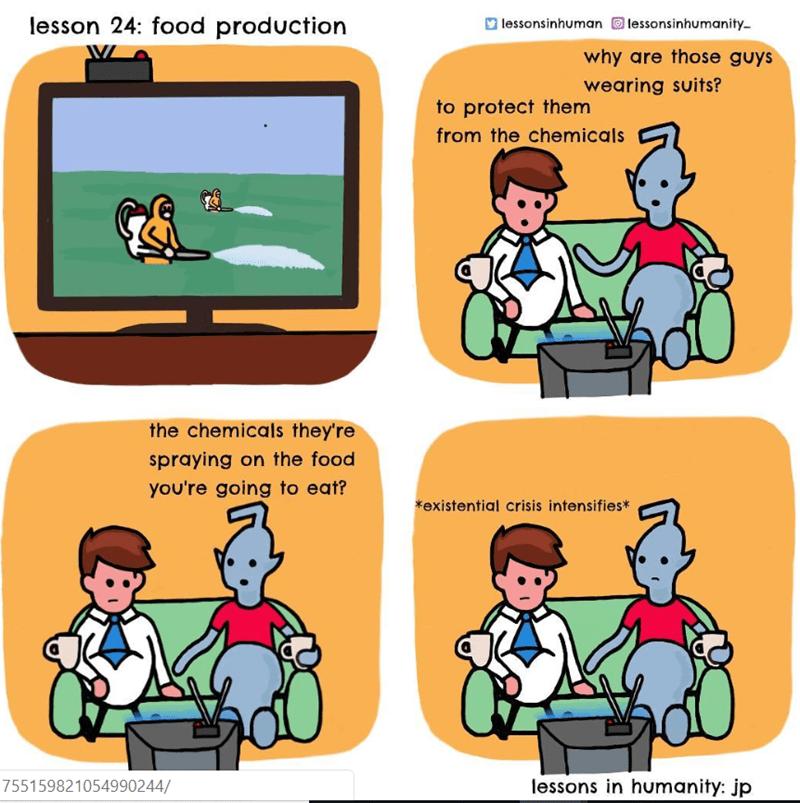 human explaining pest control to an alien