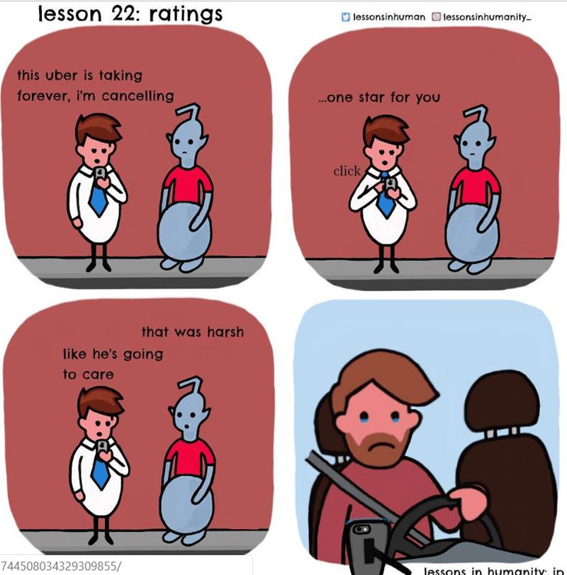 human explaining uber ratings to an alien