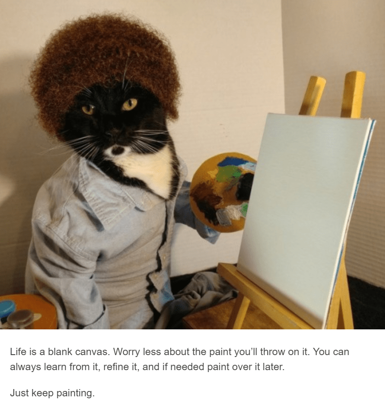 black cat dressed up as bob ross with afro canvas and button up shirt cat cosplay