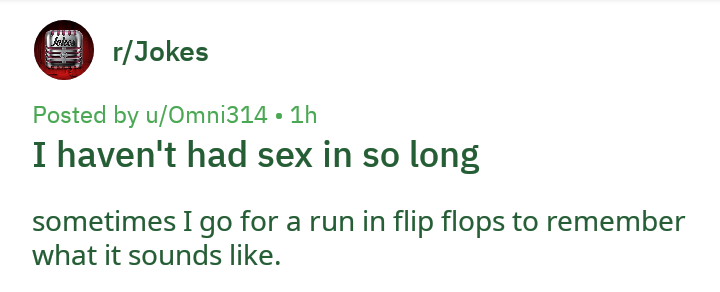 Text - r/Jokes Posted by u/Omni314 1h I haven't had sex in so long sometimes I go for a run in flip flops to remember what it sounds like.
