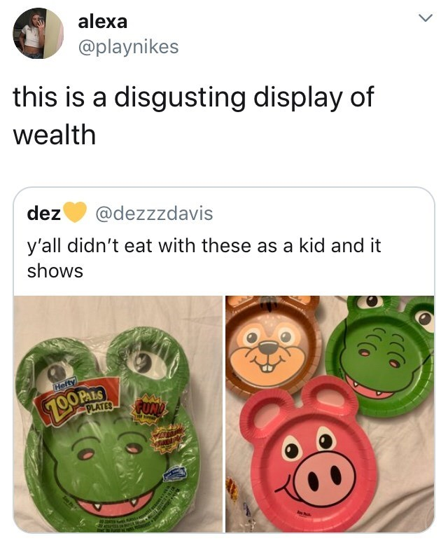 Organism - alexa @playnikes this is a disgusting display of wealth dez @dezzzdavis y'all didn't eat with these as a kid and it shows 7.00P FUND Hefty PLATES 6an CCCOO CC(O