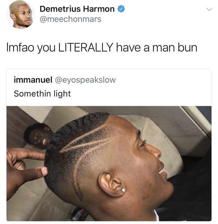 "Tweet that reads, ""LMFAO you literally have a man bun"" above a pic of a guy's profile with another guy's heading popping up, which looks like a man bun"