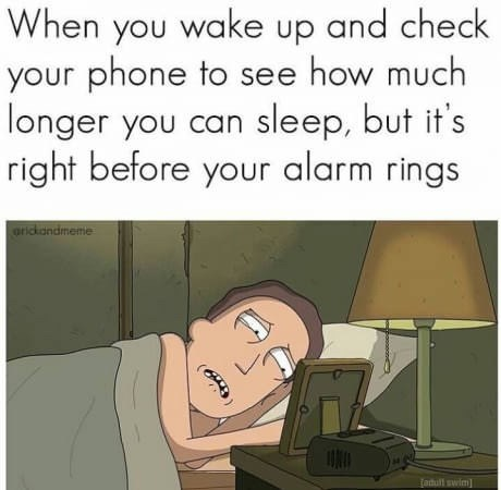"Caption that reads, ""When you wake up and check your phone to see how much longer you can sleep, but it's right before your alarm rings"" above a pic of a character from Rick and Morty lying in bed looking at his alarm clock"