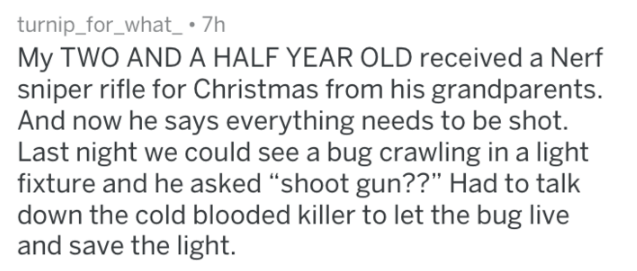 screenshot of text from reddit about nerf gun dad