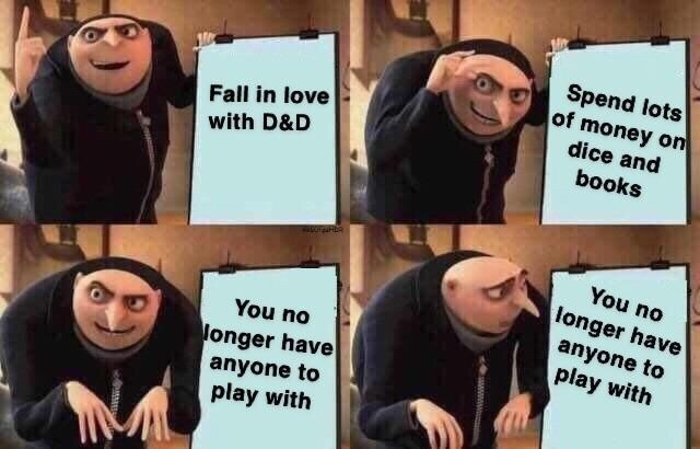 Facial expression - Spend lots of money on dice and Fall in love with D&D books You no longer have anyone to play with You no onger have anyone to play with