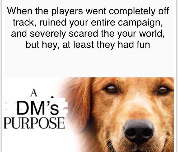 Dog breed - When the players went completely off track, ruined your entire campaign, and severely scared the your world, but hey, at least they had fun DM's PURPOSE