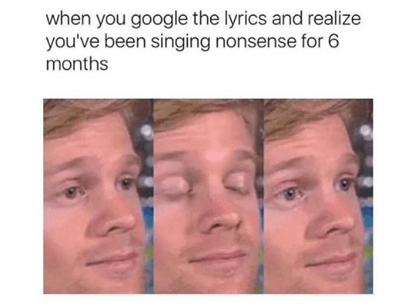 Face - when you google the lyrics and realize you've been singing nonsense for 6 months 31