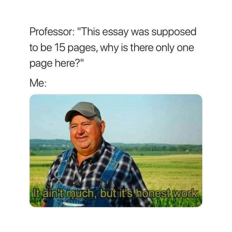 "meme - Text - Professor: ""This essay was supposed to be 15 pages, why is there only one page here?"" Me: Itain't much, but it's honest work"