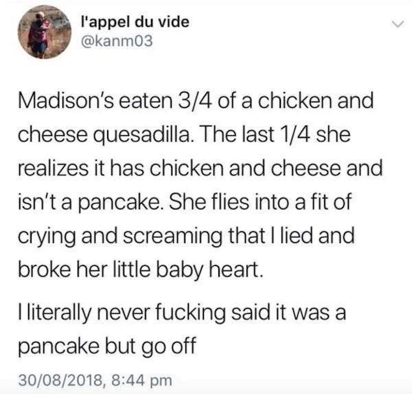 Text - l'appel du vide @kanm03 Madison's eaten 3/4 of a chicken and cheese quesadilla. The last 1/4 she realizes it has chicken and cheese and isn't a pancake. She flies into a fit of crying and screaming thatI lied and broke her little baby heart. I literally never fucking said it was a pancake but go off 30/08/2018, 8:44 pm