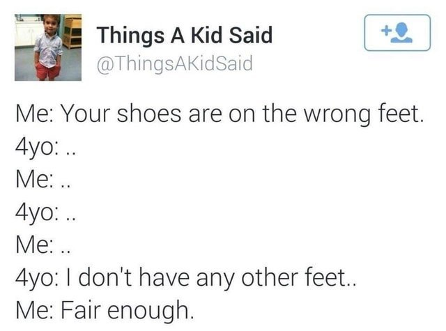 dumb but true - Text - Things A Kid Said @ThingsAKidSaid Me: Your shoes are on the wrong feet. 4yo:. Me:.. 4yo: .. Me:. 4yo: I don't have any other feet.. Me: Fair enough.