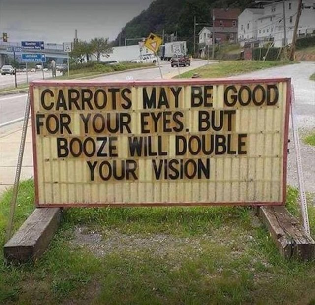 dumb but true - Text - CARROTS MAY BE GOOD FOR YOUR EYES. BUT BOOZE WILL DOUBLE YOUR VISION
