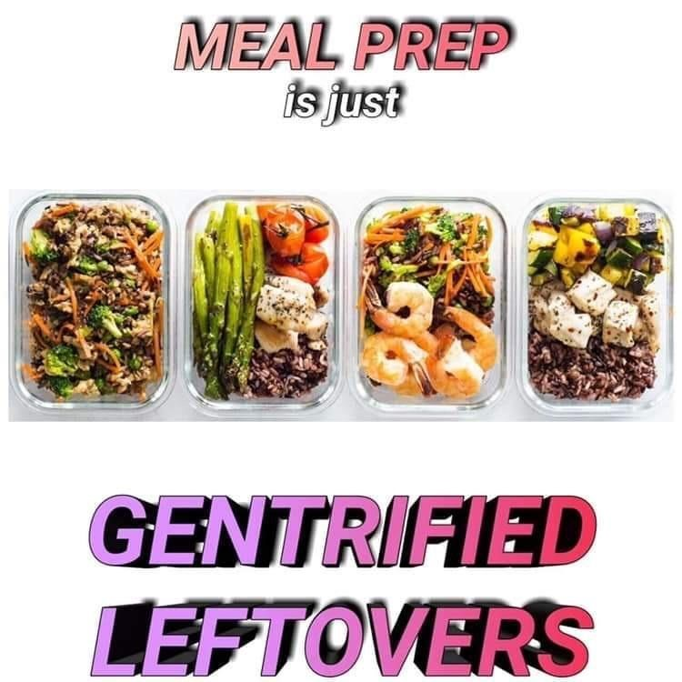 Funny meme about leftovers.
