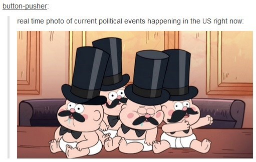 Cartoon - button-pusher real time photo of current political events happening in the US right now: