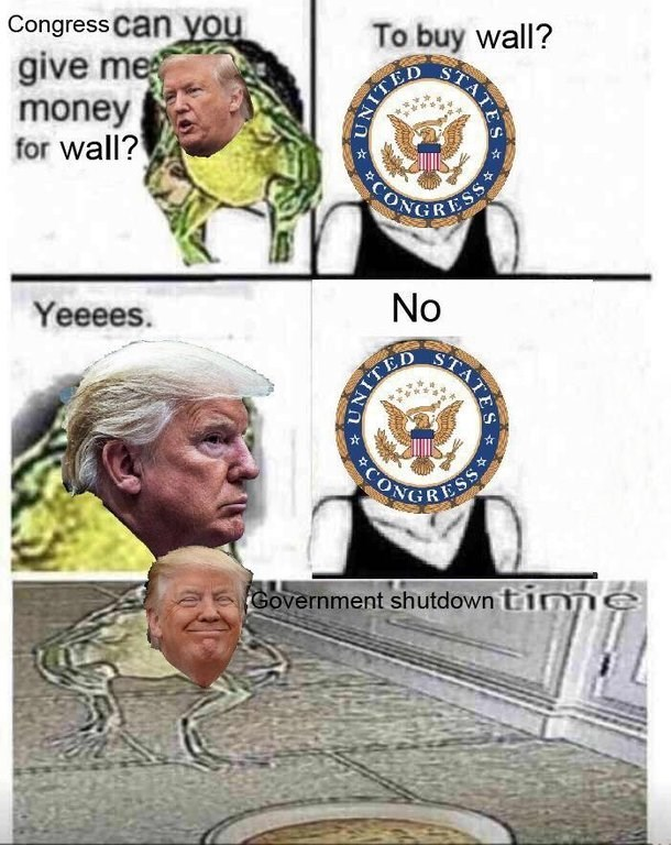 Forehead - Congress Can you give me money for wall? To buy wall? SIATES ESS Yeeees. ESS Government shutdown tinne NITED CC TES No UNITE