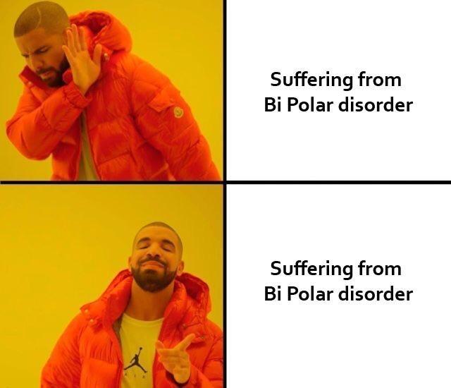 Yellow - Suffering from Bi Polar disorder Suffering from Bi Polar disorder