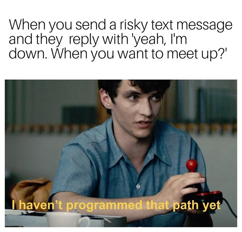 Text - When you send a risky text message and they reply with 'yeah, I'm down. When you want to meet up?' Thaven't programmed that path yet