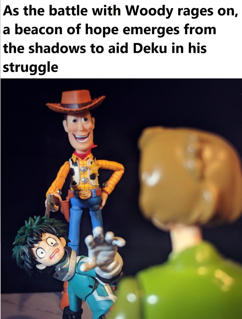 meme shaggy - Cartoon - As the battle with Woody rages on, |a beacon of hope emerges from the shadows to aid Deku in his |struggle