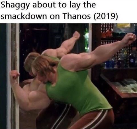 "Caption that reads, ""Shaggy about to lay the smackdown on Thanos (2019)"" above a pic of Shaggy with giant movies"