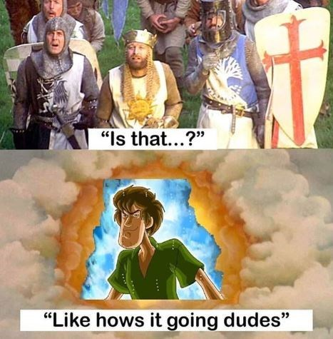 """Still from Monty Python where they say, """"Is that...?"""" above a pic of Shaggy in the clouds saying, """"Like how's it going dudes"""""""