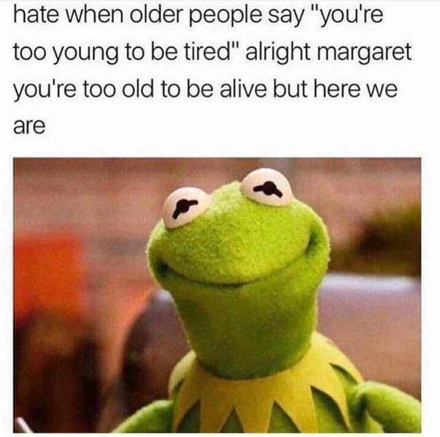 "Caption that reads, ""Hate when older people say 'You're too young to be tired,' alright Margaret you're too old to be alive but here we are"" above a pic of Kermit the Frog"