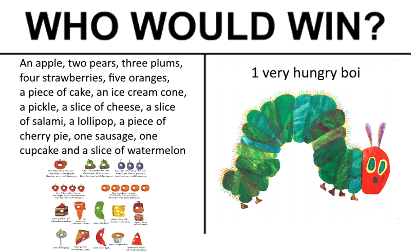Organism - WHO WOULD WIN? An apple, two pears, three plums, four strawberries, five oranges, a piece of cake, an ice cream cone, a pickle, a slice of cheese, a slice of salami, a lollipop, a piece of cherry pie, one sausage, one cupcake and a slice of watermelon 1 very hungry boi 00 On Tucday he anc hugh i M Y l OW de he ane h gh her plu Thewry hra- Hrywal Is sirurknstum Psy whe arang w pim of lulatr atht me te pickle, amme falawi oue aes li and one ee ofwatenaeb