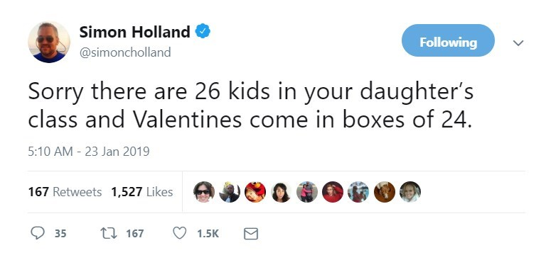 Text - Simon Holland Following @simoncholland Sorry there are 26 kids in your daughter's class and Valentines come in boxes of 24. 5:10 AM 23 Jan 2019 167 Retweets 1,527 Likes ti 167 35 1.5K