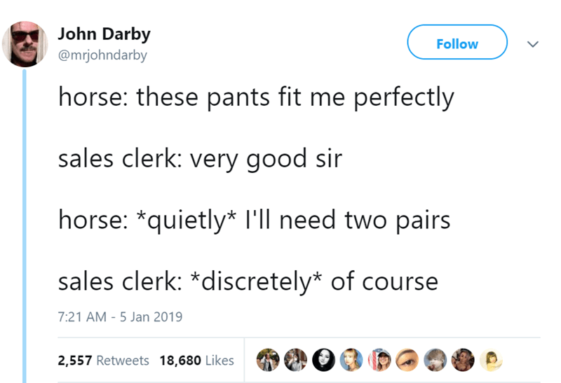 Text - John Darby @mrjohndarby Follow horse: these pants fit me perfectly sales clerk: very good sir horse: *quietly* I'll need two pairs sales clerk: *discretely* of course 7:21 AM - 5 Jan 2019 2,557 Retweets 18,680 Likes